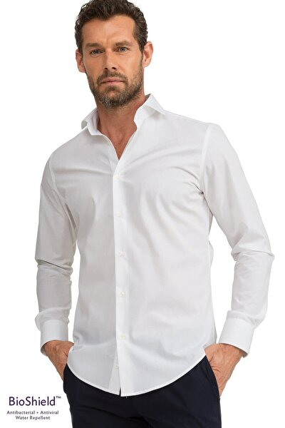 Erkek Beyaz Slim Fit  Antibakteriyel Ve Sıvı Itici Bioshield™ Gömlek