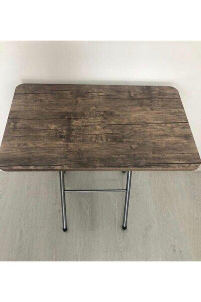 Kahverengi Ahşap Katlanabilir Yemek Masası 50x80