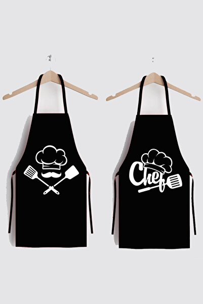 Siyah Chefs Ikili Leke Tutmaz Kumaş Mutfak Önlüğü