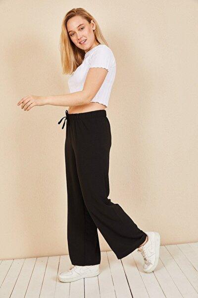 Huban Moda Kadın Siyah Beli Lastikli Bol Paça Salaş Yazlık Pantolon Aerobin-865829