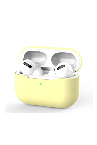 Airpods Pro Uyumlu Açık Sarı Silikon Kılıf