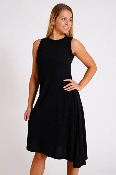 Siyah Fitilli Kolsuz Elbise (BS005)