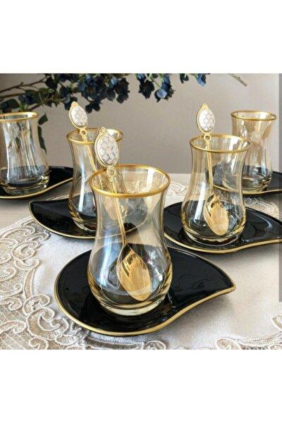 Eva Siyah Tabaklı Bal Altın 12 Parça Çay Seti