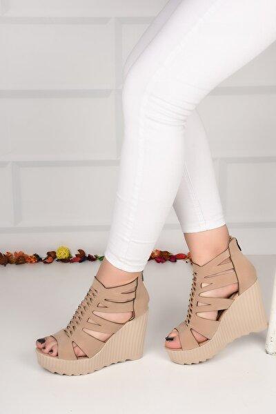 Kadın Krem Süet Dolgu Topuk 10 Cm Ayakkabı Ba20576