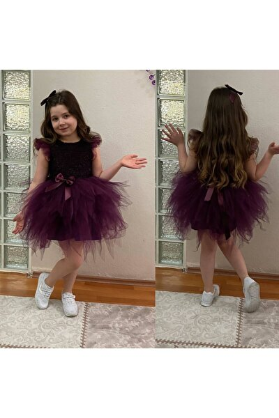 Kız Çocuk Mor Simli Elbise