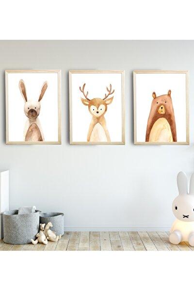 Bebek Çocuk Odası Tablo Tavşan Ayı Geyik 3'lü Naturel Renk Doğal Ahşap Çerçeveli Set 30x40 Cm