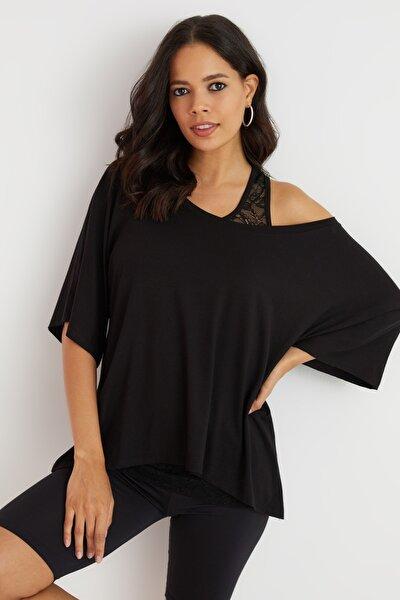 Kadın Siyah Kayık Yaka Dantelli İkili Bluz BK1170