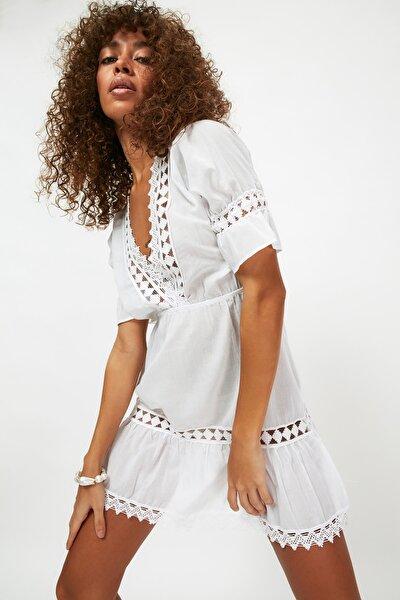 Beyaz Şeritli Plaj Elbise TBESS21EL4116