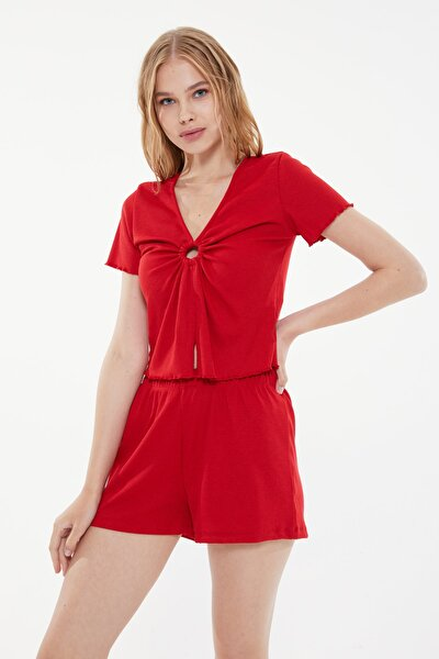 Kırmızı Kaşkorse Örme Pijama Takımı THMSS21PT0698