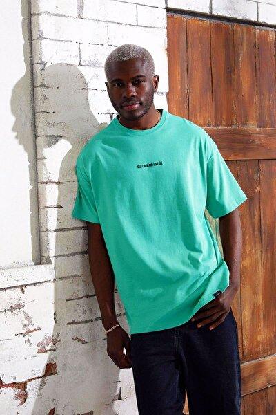 Yazılı Pamuklu Oversize Kesim T-shirt