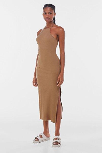 Kadın Kahverengi Fitilli Uzun Elbise