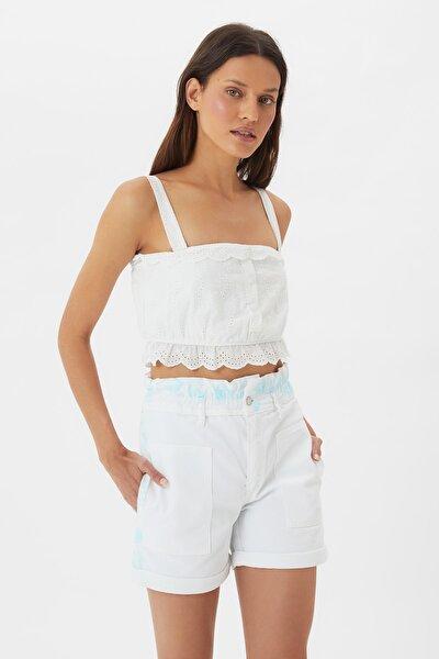Beyaz Batik Yıkamalı Beli Büzgülü Denim Şort TWOSS21SR0503