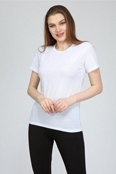 Kadın  Beyaz Basic Bisiklet Yaka T-shirt