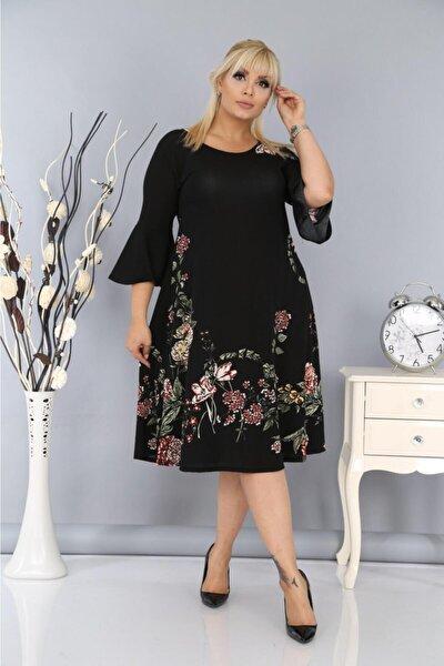 Kadın Büyük Beden Yarım Kollu Likralı Krep Kumaş Çiçekli Elbise Siyah