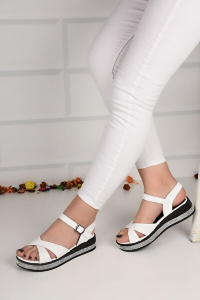 Kadın Beyaz Taşlı Düz Taban Çapraz Sandalet Ba21054