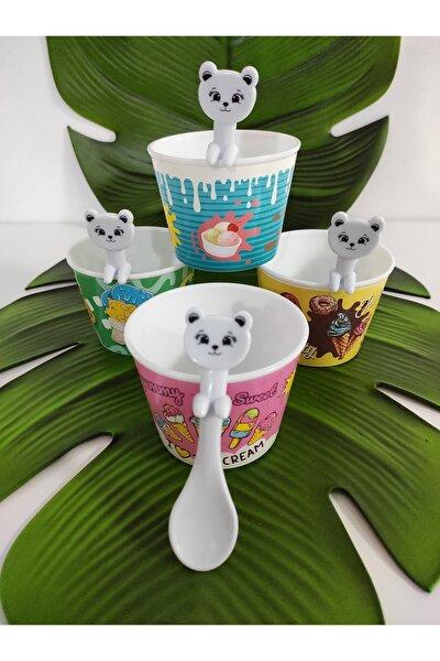 Renkli Plastik Kase Dondurma Seti Kaşıklı 4 Lü Set