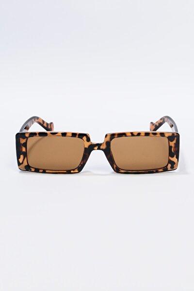 Kadın Leopar Dikdörtgen Güneş Gözlüğü