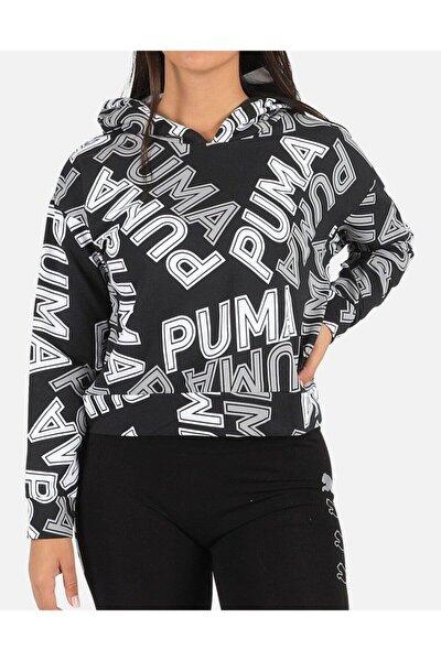 Kadın Kapüşonlu Crop Salaş Sweatshirt Siyah