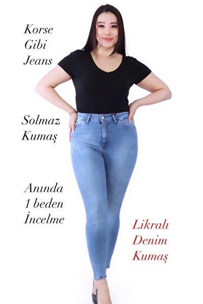 Büyük Beden Battal Jeans Mavi Renk Daşlamalı Düz S.o.l.m.a.z (TOPARLAYICI)