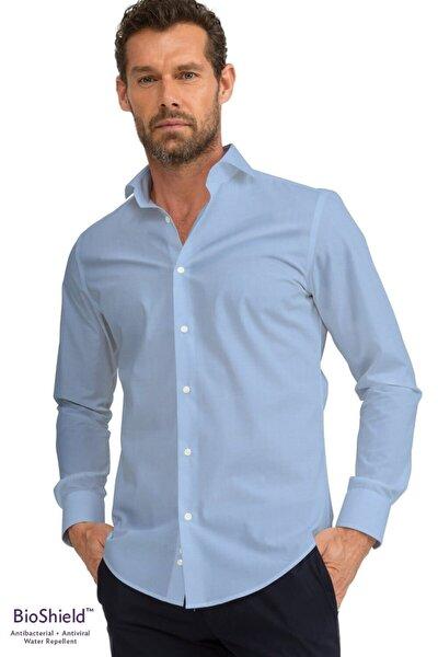 Erkek Mavi Slim Fit Antibakteriyel Ve Sıvı Itici Bioshield™ Gömlek