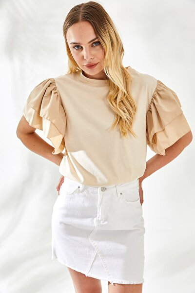 Kadın Kolları Poplin Volanlı Tshirt