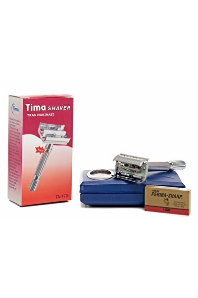 Tima Çelik Tıraş Makinası Alttan Açmalı(Permasharp Jilet Hediyeli