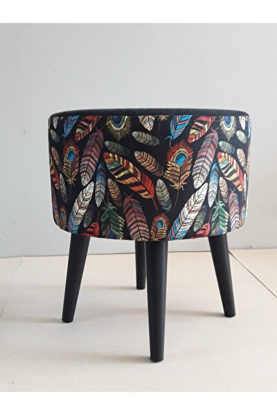 Gürgen Retro Ahşap Ayaklı Dekoratif Kuştüyü Desenli Silindir Puf Bench Koltuk Sandalye