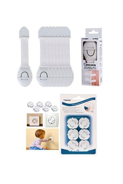 Çocuk Bebek Güvenlik Emniyet Seti - 10 Adet Beyaz Dolap Kilidi + 12 Adet Priz Koruyucu
