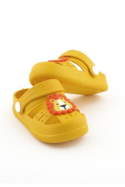 Çocuk Günlük Ortopedik Kaymaz Taban Hayvan Figürlü Çocuk Sandalet Terlik - Sarı