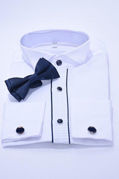 Çocuk Beyaz Renk Lacivert Biyeli Papyonlu Çocuk Gömleği