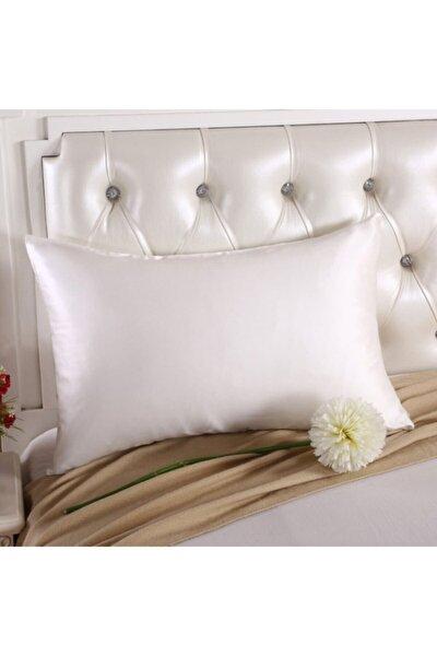 %100 Ipek Pamuklu Saten Yastık Kılıfı Beyaz Renk 2 Adet 50x70cm