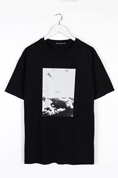 Future Göğüs Baskılı Oversize Siyah Unisex Tshirt