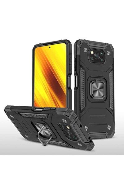 Xiaomi Poco X3 Nfc Uyumlu Kılıf Mıknatıslı Yüzüklü Üstün Korumalı Kapak - Siyah