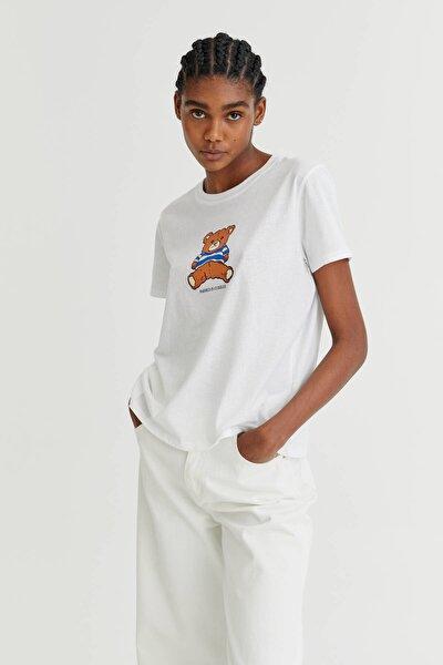 Oyuncak Ayıcık Görselli Beyaz T-Shirt