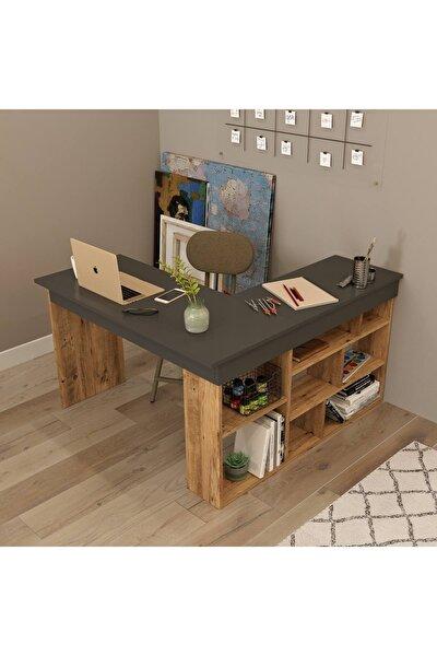 Tywin Kitaplık Raflı Çalışma Masası Çam-antrasit