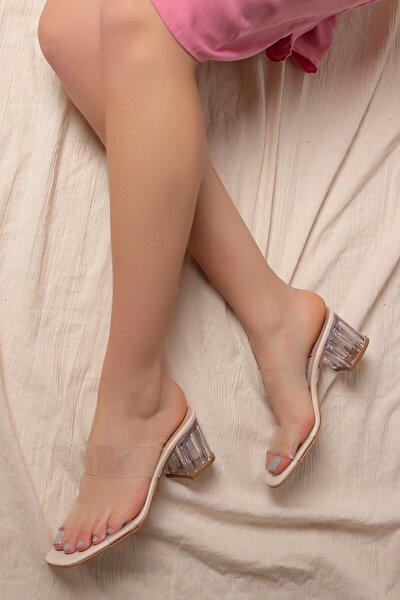 D0085 Kadın Şeffaf Bant&şeffaf Topuklu Ayakkabı