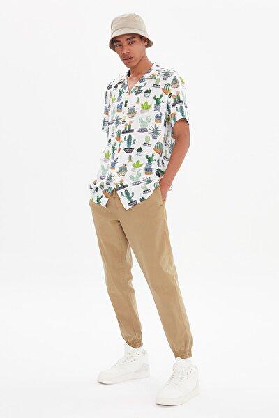 Çok Renkli Erkek Regular Fit Apaş Yaka Kısa Kol Gömlek TMNSS21GO1067