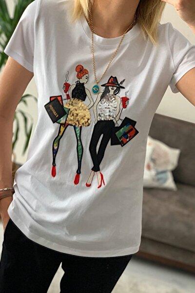 Kadın Beyaz Pul Payet Kız Nakışlı Pamuk T-Shirt
