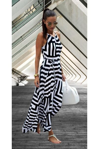 Siyah Beyaz Günlük Uzun Krep Kumaş Elbise 127cm