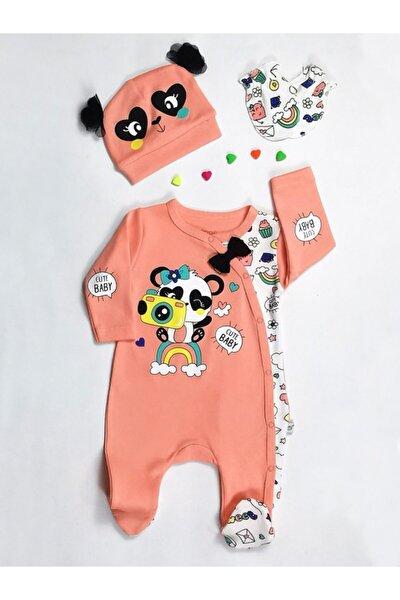 Kız Bebek Şeftali Gökkuşağı Panda Şapkalı Tulum 3'lü