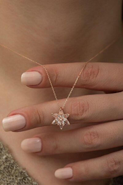925 Ayar Gümüş Beyaz Taşlı Lotus Çiçeği Kadın Kolye