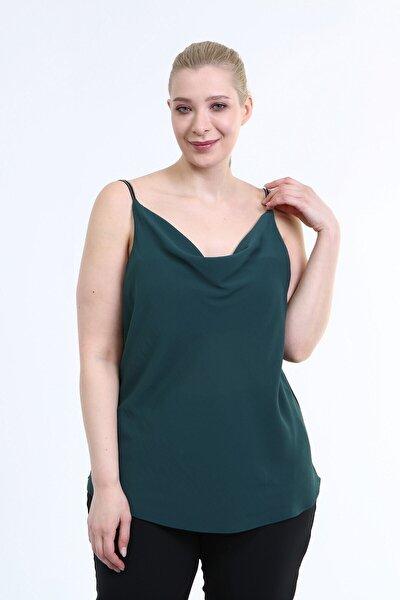 Kadın Yeşil Degaje Yaka Ip Askılı Bluz