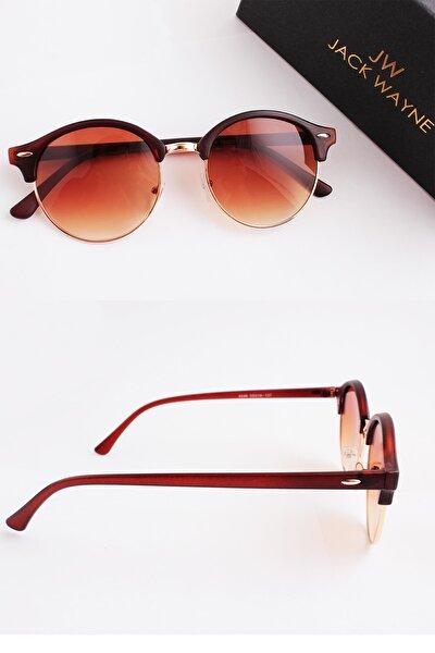 Unisex Kahverengi Oval Güneş Gözlüğü