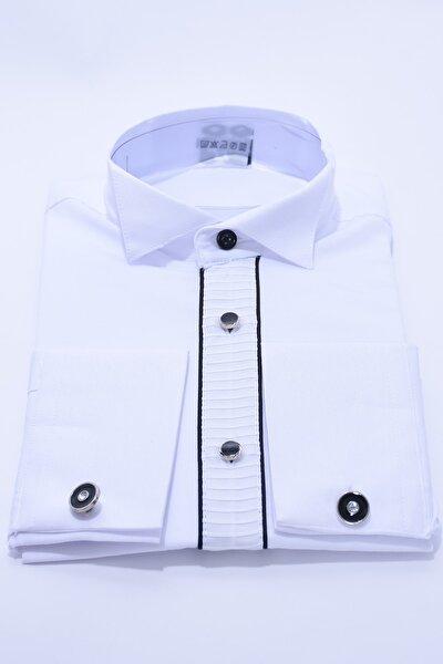 Çocuk Beyaz Renk Siyah Biyeli Ata Yaka Çocuk Gömleği