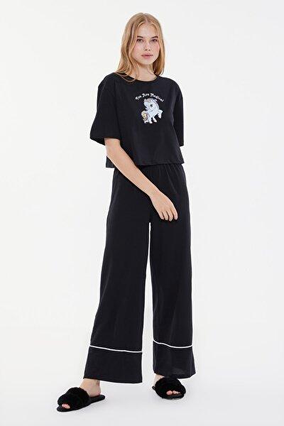 Siyah Baskılı Örme Pijama Takımı THMSS21PT0953
