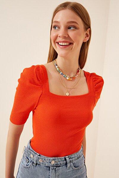 Kadın Oranj Kare  Yaka Fitilli Crop Bluz GT00007