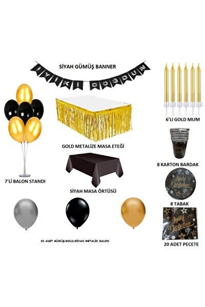 Siyah Gold Gümüş Doğum Günü Seti