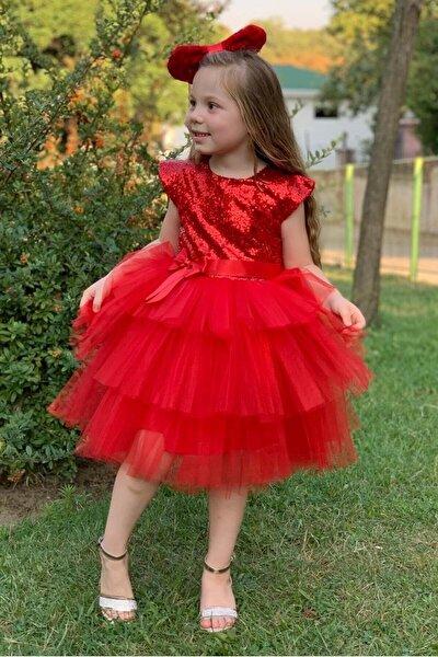 Kız Çocuk Kırmızı Renk Pul Payetli 5 Yaş  Abiye