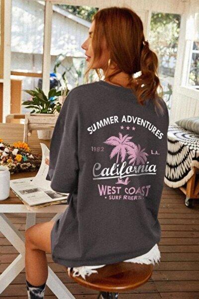 Kadın Antrasit Oversize California Baskılı T-shirt