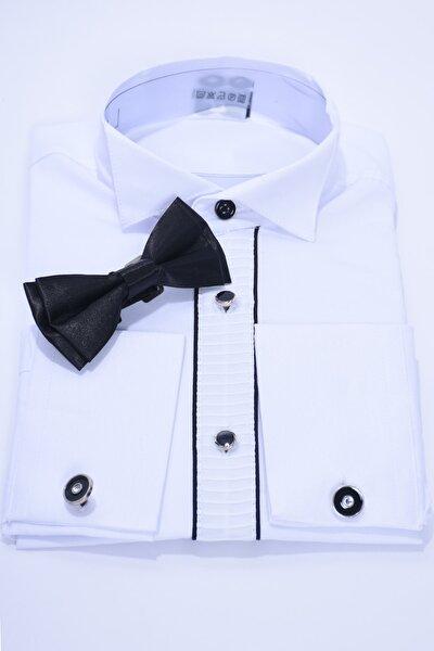 Çocuk Beyaz Renk Siyah Biyeli Papyonlu Uzun Kol Kol Düğmeli Çocuk Gömleği